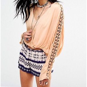 Free People Crochet Lace V-Neck Long Sleeve Blouse